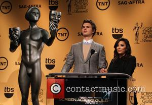 Ansel Elgort and Eva Longoria - TNT's 21st Annual Screen Actors Guild Awards Nominations Announcement at Silver Screen at the...