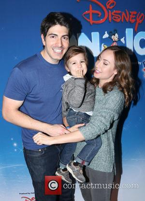 Brandon Routh, Courtney Ford and Leo James Routh - Shots from The Staples Center which was host to