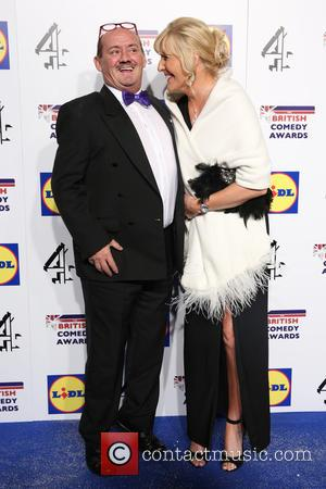 Brendan O'Carroll and Jennifer Gibney - Photographs of a variety of British stars from the comedy scene as they arrive...