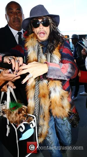 Front man from the American rock band Aerosmith Steven Tyler was photographed as he arrived at LAX airport to catch...