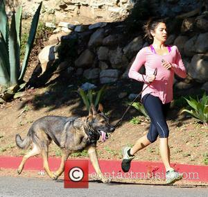 American film and TV actress Nikki Reed was spotted out running with her dog in Los Angeles, California, United States...