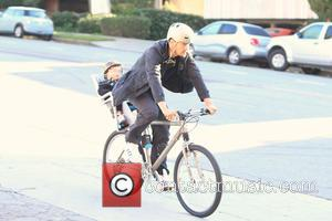 Josh Duhamel and Axl Duhamel - Josh Duhamel spotted out biking with his son Axl Duhamel in Brentwood - Los...
