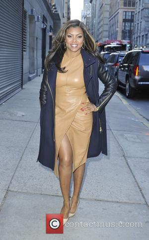 American actress Taraji P Henson known for her roles in 'Hustle' and 'Baby Boy' was snapped as she arrived at...