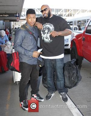 American record producer,founder and CEO of Black Kapital Records, Suge Knight was snapped as he dropped his son off at...