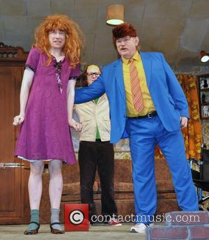 Domhnall Gleeson and Brendan Gleeson - Brendan Gleeson with his two sons, Brian and Domhnall Gleeson in costume for a...