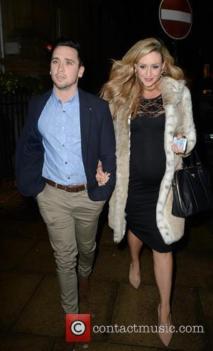 Catherine Tyldesley and Tom Pitfield - Pregnant Catherine Tyldesley and her fiance Tom Pitfield arrive at Rosso restaurant in Manchester...