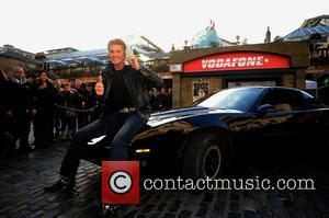 David Hasselhoff and Kitt Car from Knight Rider - David Hasselhoff and Kitt today launch Vodafones 1984G Street, A 1980s...