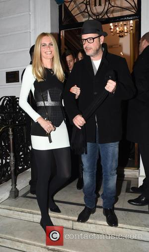 Claudia Schiffer and Mathew Vaughn - The 'Kingsman: The Secret Service' cast leaving Hunters Saville Row after there pre-premiere cocktail...