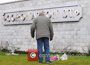 Coronation Street studios - Coronation Street cast members at the studios, where filming has been suspended for the day, due...