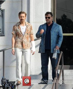 Ryan Gosling and Russell Crowe - American actor Ryan Gosling was spotted on the set of 'The Nice Guys' wearing...