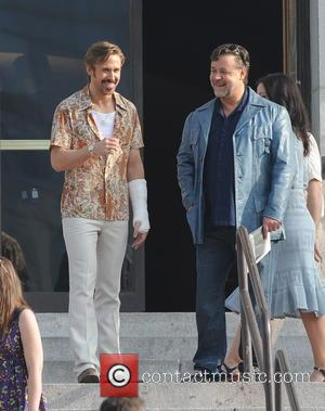 Ryan Gosling and Russell Crowe - Actor Ryan Gosling spotted on the set of