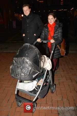 Sonya Macari, Colin Devlin and Evie - Actress Sonya Macari and husband Colin Devlin seen pushing new baby Evie after...