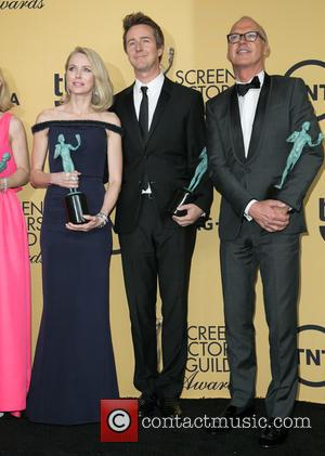 Naomi Watts, Edward Norton and Michael Keaton - A variety of stars were photographed in the press room at the...