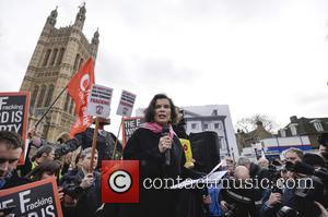Bianca Jagger - Celebrities  joins enviromental charity Greenpeace at rally to call for an immediate fracking moratorium at Old...