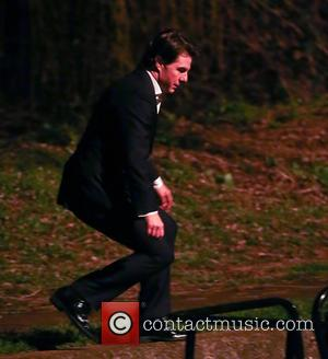 Tom Cruise - Shots of American Hollywood star Tom Cruise along with British film actor Simon Pegg as they film...