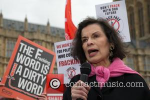 Bianca Jagger - A protest against fracking, organised by Greenpeace, takes palce outside Parliament on the day of the Government's...