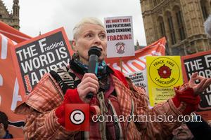 Vivienne Westwood And Bianca Jagger Protest Outside Parliament