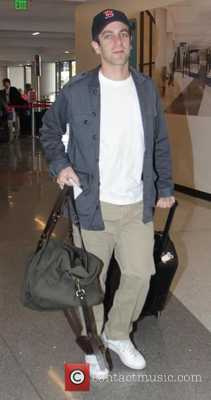 B.J. Novak - Writer and executive producer of The Office, B.J. Novak departs from Los Angeles International Airport (LAX) -...