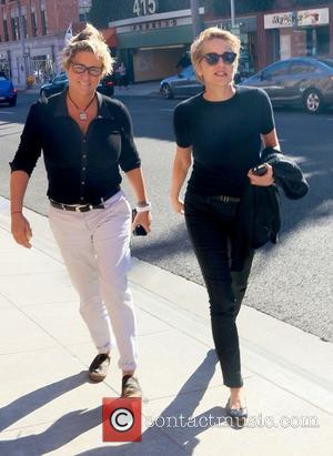 Shots of the American actress and producer Sharon Stone out with a friend of hers on a sunny day in...