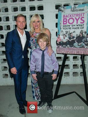 Brian Littrell, Leighanne Wallace and Baylee Thomas Wylee Littrell - A variety of stars were snapped as they arrived for...