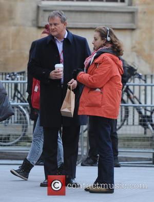 Hugh Bonneville - Hugh Bonneville filming the new TV program 'W1A' at the BBC Studios - London, United Kingdom -...