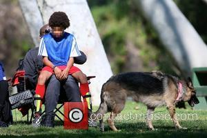 Seal Samuel and Henry Samuel - Seal watches his children play in a soccer game - Los Angeles, California, United...