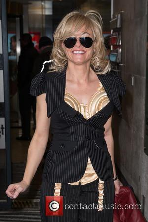 Lisa Mahoney and Fake Madonna - Madonna impersonator Lisa Mahoney leaves the BBC Radio 1 studios at BBC Portland Place...