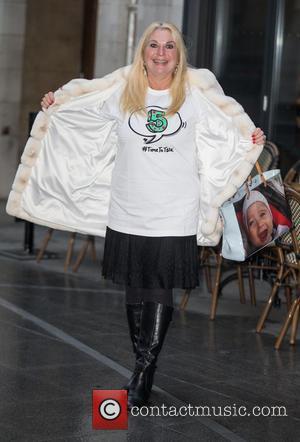 Vanessa Feltz - Celebrities at BBC Radio 1 - Vanessa Feltz wearing a 'Talking About Mental Health' teeshirt at BBC...