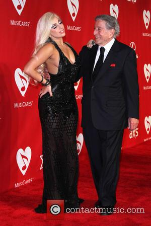 Lady Gaga and Tony Bennett - 2015 MusiCares Person of the Year gala honoring Bob Dylan at the Los Angeles...