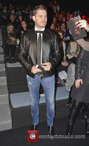 Michael Buble - Mercedes-Benz Madrid Fashion Week Fall/Winter 2015 - Davidelfin - Front Row - Madrid, Spain - Sunday 8th...