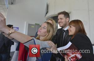 Michael Buble - Mercedes-Benz Madrid Fashion Week Fall/Winter 2015 - Davidelfin - Arrivals - Madrid, Spain - Sunday 8th February...
