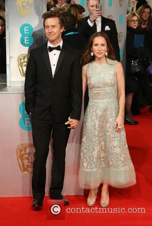 Edward Norton and Shauna Robertson - The EE British Academy Film Awards (BAFTA) 2015 - Arrivals - London, United Kingdom...