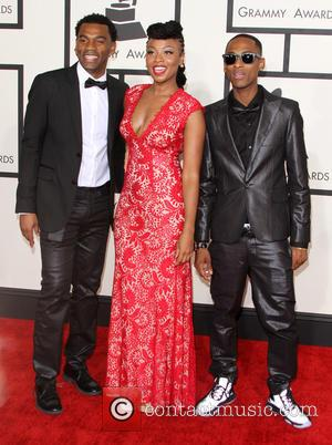 Carlos Valencia, Gloria Martinez and Miguel Martinez of the band 'Choc Quib Town' - 57th Annual GRAMMY Awards held at...