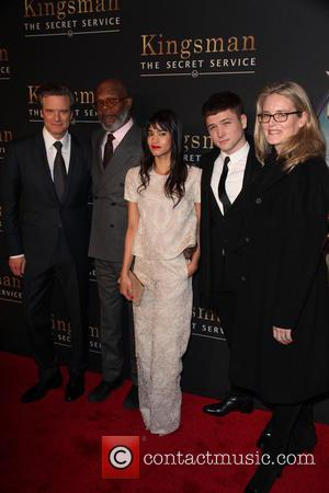 Cast From L To R, Colin Firth, Samuel L. Jackson, Sofia Boutella, Taron Egerton and Emma Watts