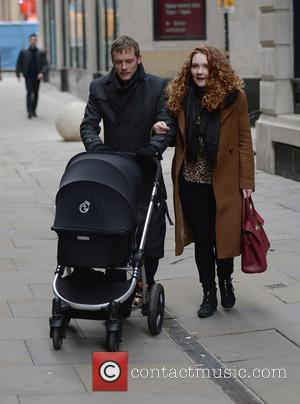 Jennie McAlpine and Chris Farr - Jennie McAlpine and partner Chris Farr, pushing their son Albert, arrivne at Annies Restaurant...