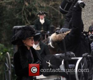 Kate Beckinsale - ate Beckinsale and Chloe Sevigny on the film set of 'Love and Friendship'. The film is based...