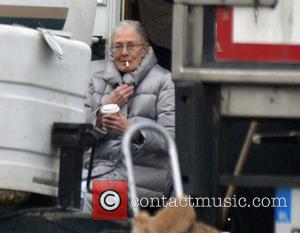 Venessa Redgrave - Actress Venessa Redgrave seen have a smoke break outside her trailer on the set of The Secret...