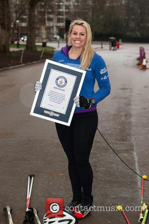 Chemmy Alcott - Chemmy Alcott attempts to break the Guinness World Record in Hyde Park for the fastest mile on...