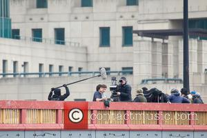 Ben Whishaw - Ben Whishaw films scenes for new James Bond movie 'Spectre' on Vauxhall Bridge - London, United Kingdom...