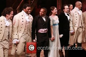 Brian d'Arcy James, Okieriete Onaodowan, Leslie Odom Jr., Phillipa Soo, Lin-Manuel Miranda and Christopher Jackson - Opening night of the...