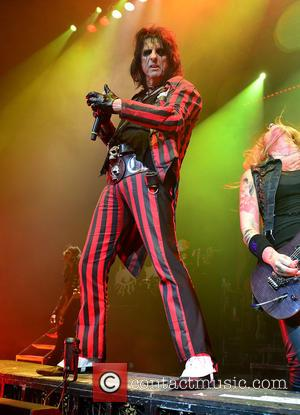 Alice Cooper and Nita Strauss - Shots of rock legend Alice Cooper as he performed live on stage at Hard...