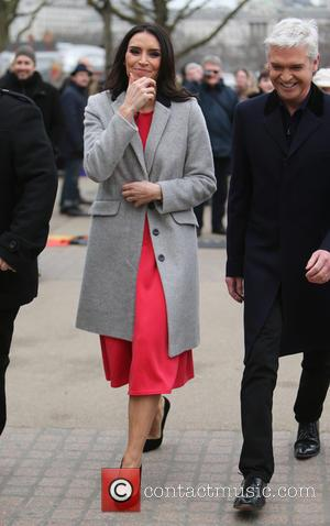 Christine Bleakley and Philip Schofield - Christine Bleakley and Philip Schofield filming on the Southbank outside the ITV studios -...