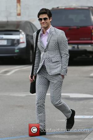 Darren Criss - On-screen couple Chris Colfer and Darren Criss film scenes for the final episode of 'Glee' at Downtown...