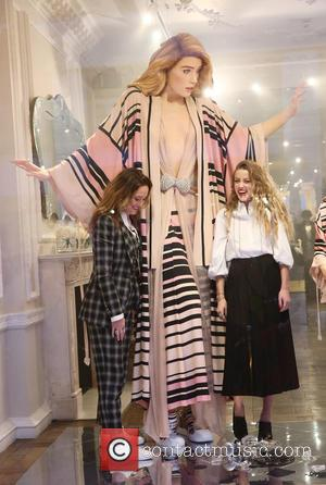 Amber Heard and Alice Temperley - Amber Heard unveils the new 'Alice In Wonderland'-themed window for Temperley in London -...
