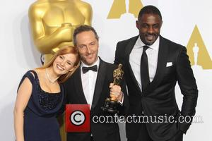 Jessica Chastain, Emmanuel Lubezki and Idris Elba - 87th Annual Academy Awards - Press Room at The Dolby Theatre at...