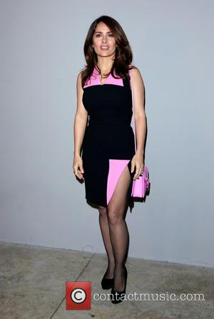 Salma Hayek - London Fashion Week Autumn/Winter 2015 - Christopher Kane - Front Row at London Fashion Week - London,...