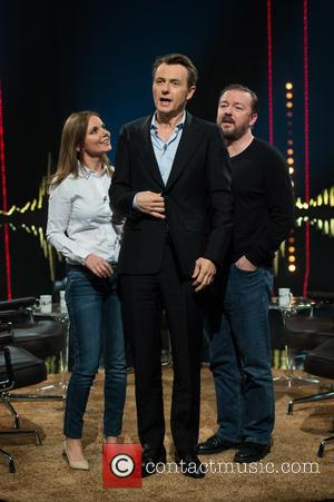 Geri Halliwell, Fredrik Skavlan and Ricky Gervais - 'Skavlan' television show production images from the London Studios. - London, United...