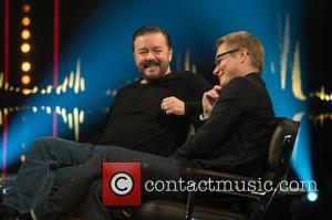 Ricky Gervais and Magnus Falkehed - 'Skavlan' television show production images from the London Studios. - London, United Kingdom -...