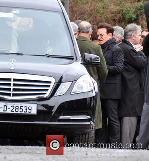 Bono - The Funeral of Rev.Jack Heaslip at St.Mary's Church Howth. Rev.Heaslip was U2's chaplin and travelled around the world...