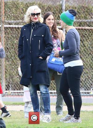 Gwen Stefani - Gwen Stefani takes Kingston and Apollo to watch Zuma play in a soccer game in Studio City...